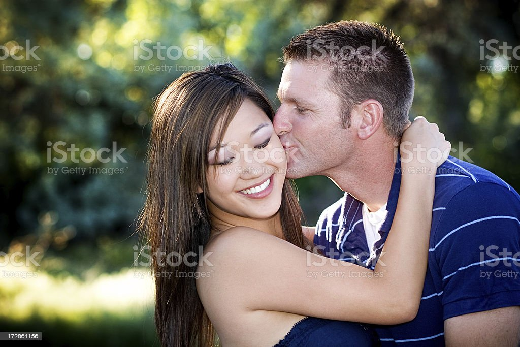 Happy Young Romantic Man and Woman Flirting royalty-free stock photo