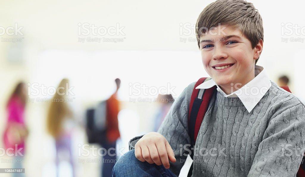 Happy young school boy royalty-free stock photo