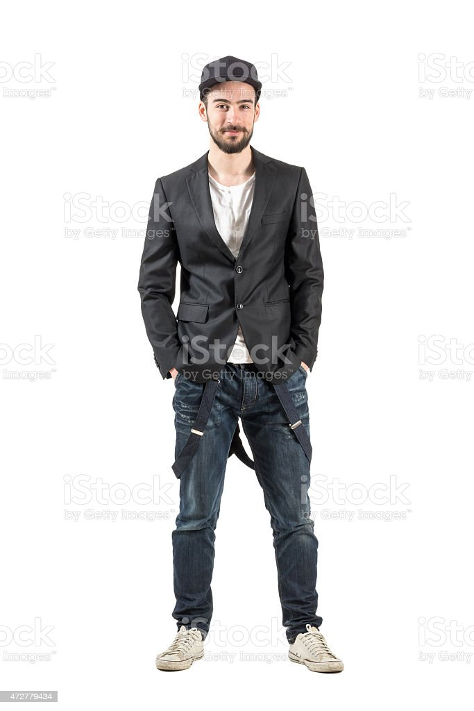 Happy young smiling fashion model looking at camera stock photo