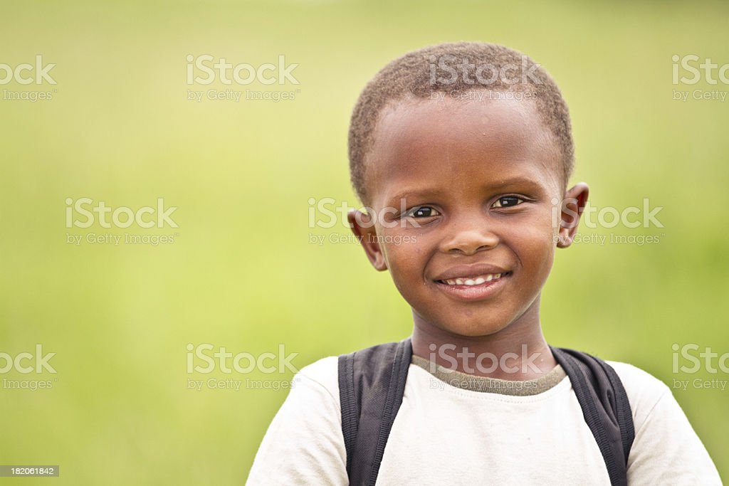 Happy Young South African Boy on His Way to School stock photo