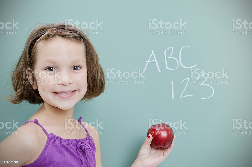 Happy Young Student and Chalkboard royalty-free stock photo