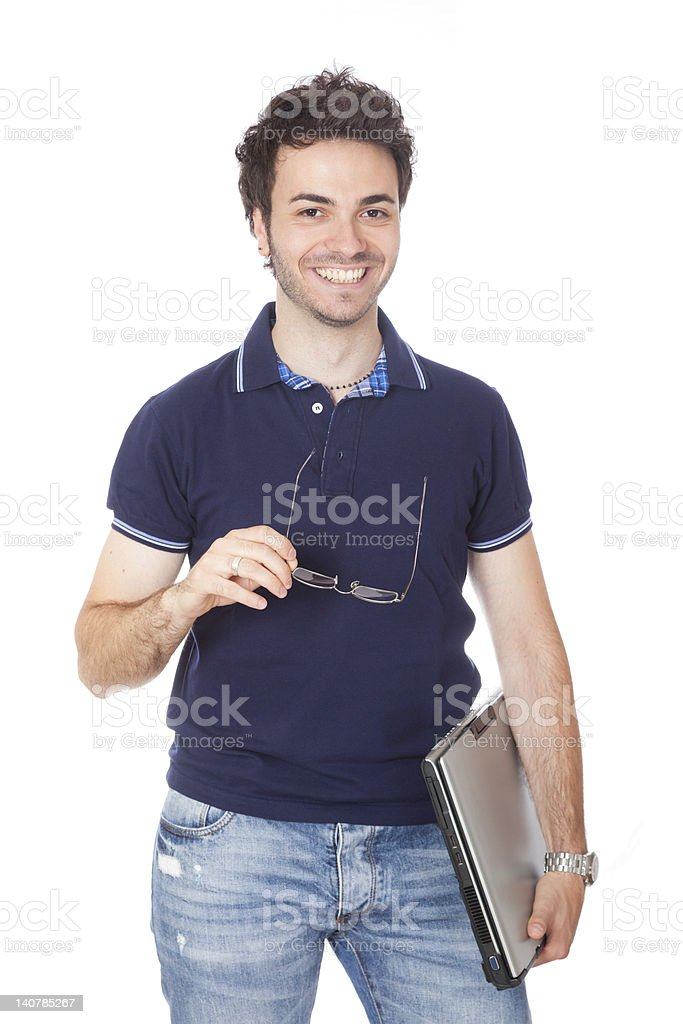 Happy Young Student on White royalty-free stock photo