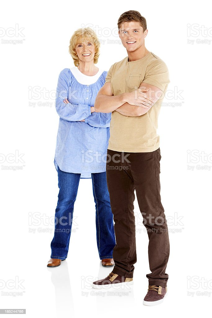 Happy young with his mother standing on white royalty-free stock photo