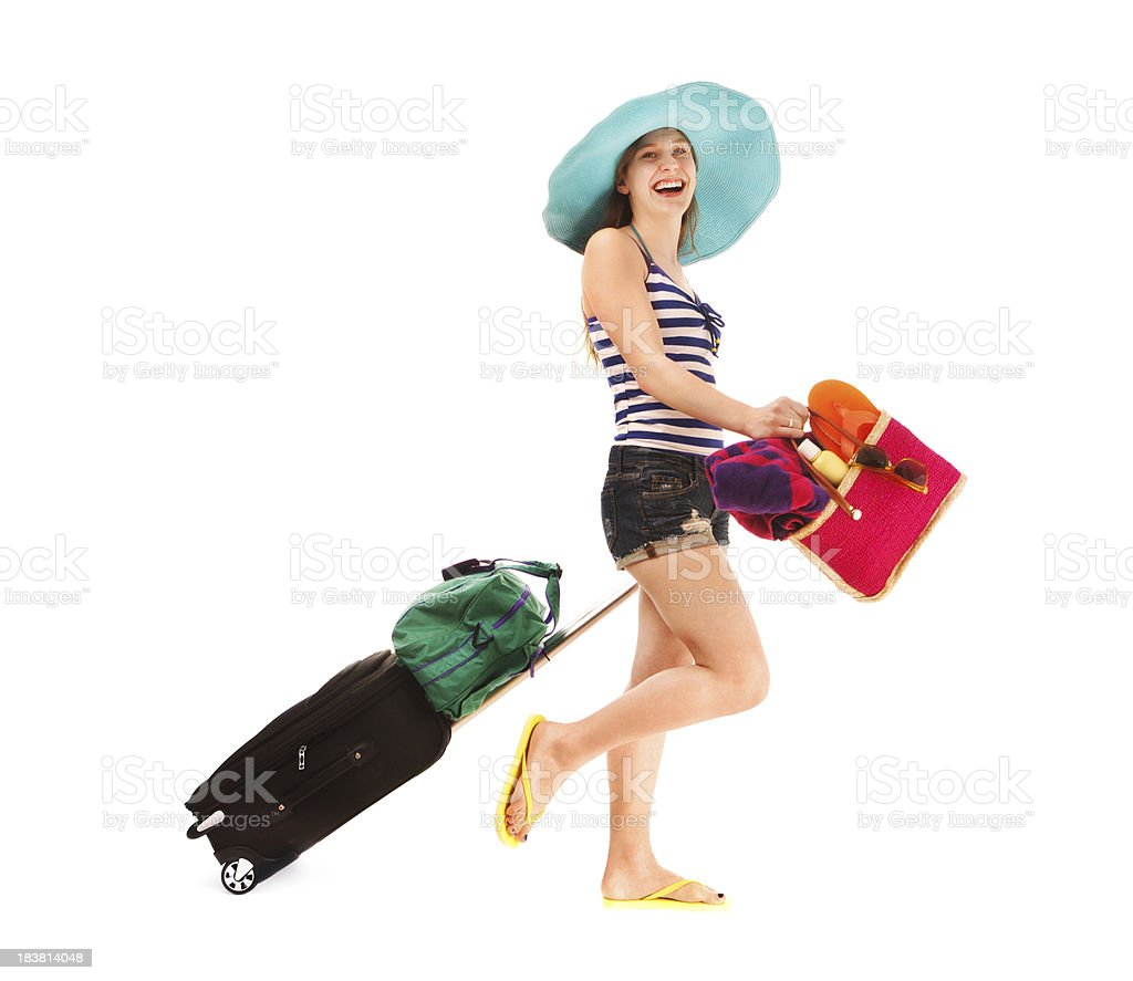 Happy Young Woman Beach Vacation Traveler Carrying Luggage on White royalty-free stock photo
