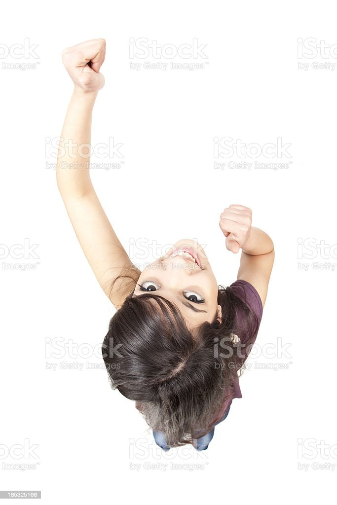 Happy young woman dancing royalty-free stock photo