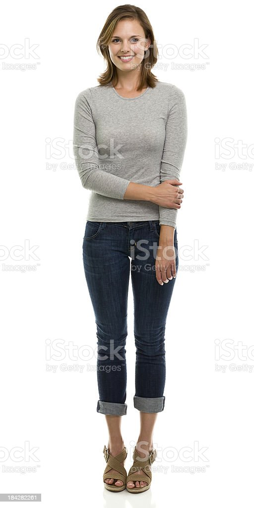 Happy Young Woman Full Length Portrait royalty-free stock photo