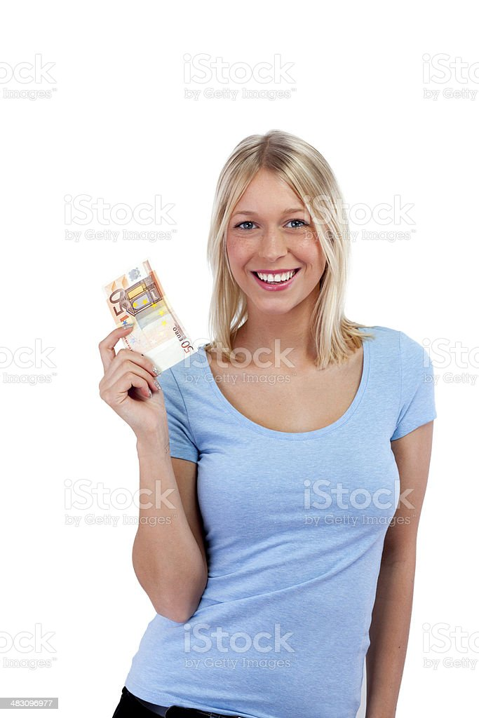 Happy young woman holding 50 euro in her hand stock photo