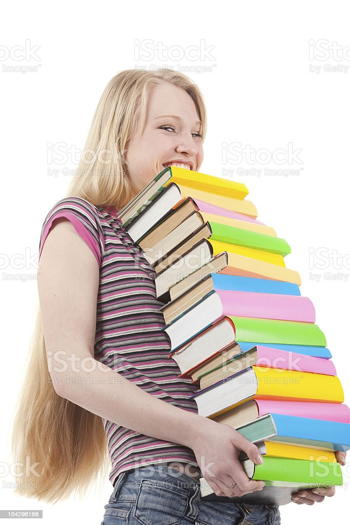 Happy Young Woman Holding Books. royalty-free stock photo