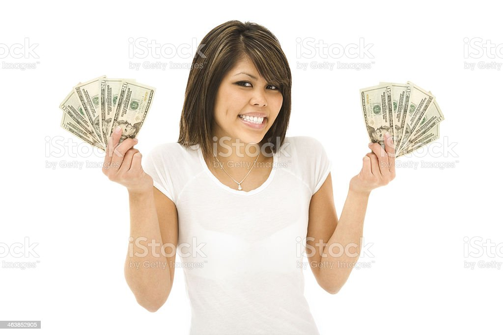 Happy Young Woman Holding Money royalty-free stock photo