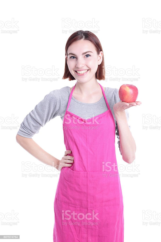 Happy young woman housewife stock photo