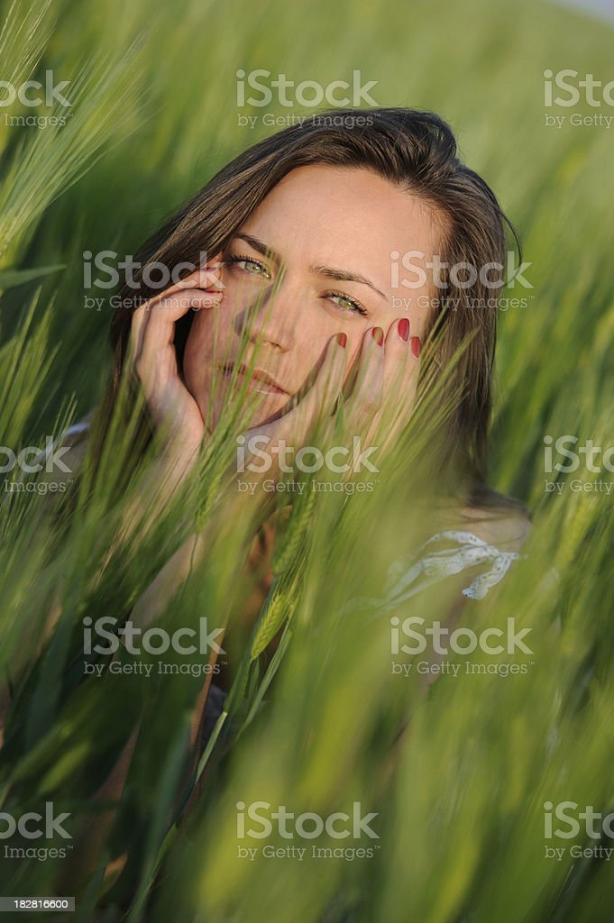 Happy young woman in green wheat field stock photo