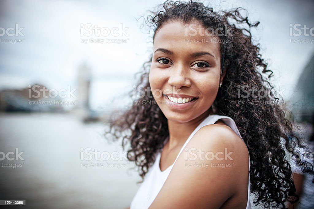 Happy Young Woman in London stock photo