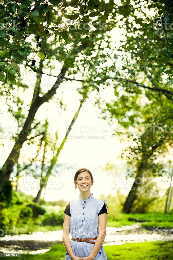 Happy Young Woman In Nature royalty-free stock photo
