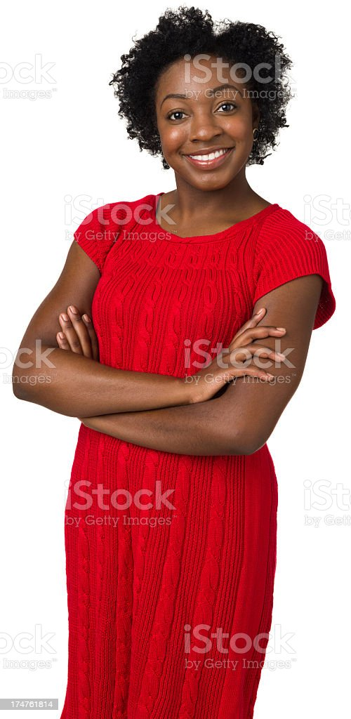 Happy Young Woman In Red Dress, Three Quarter Portrait royalty-free stock photo