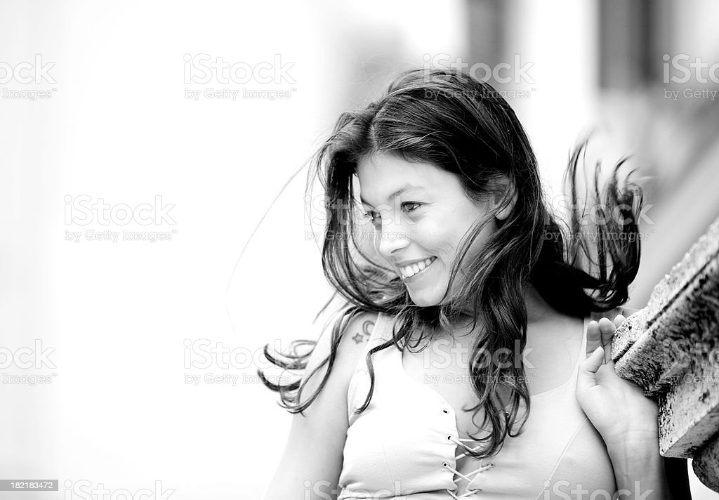 Happy young woman in Rome royalty-free stock photo