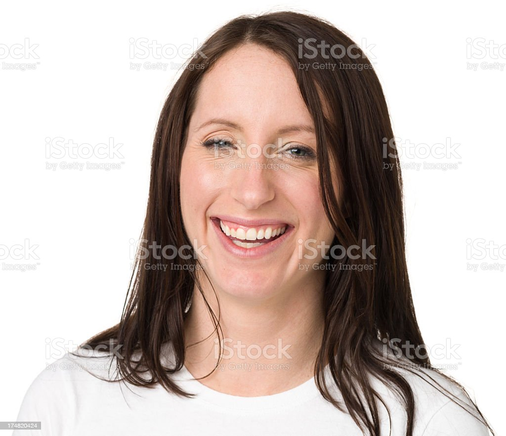 Happy Young Woman Laughing Portrait royalty-free stock photo