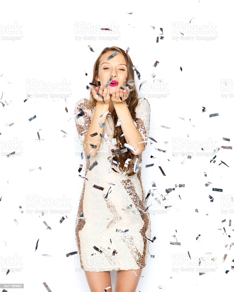 happy young woman or teen girl in fancy dress stock photo