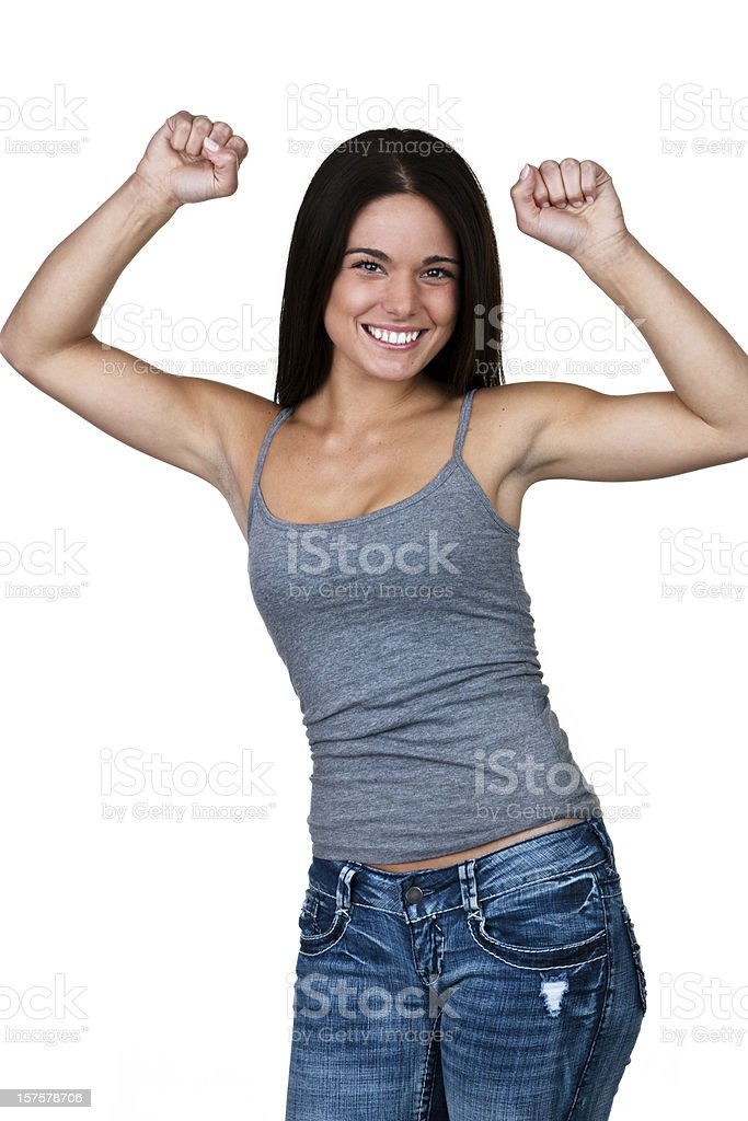 Happy young woman stock photo