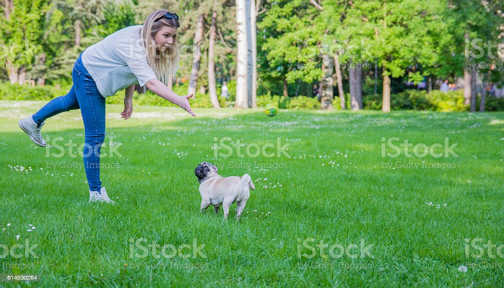 Happy young woman playing catch with her pet stock photo