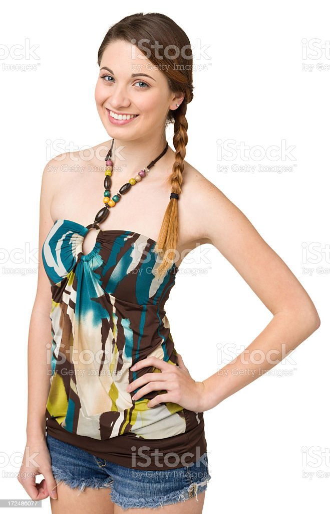 Happy Young Woman Posing With Hand On Hip royalty-free stock photo