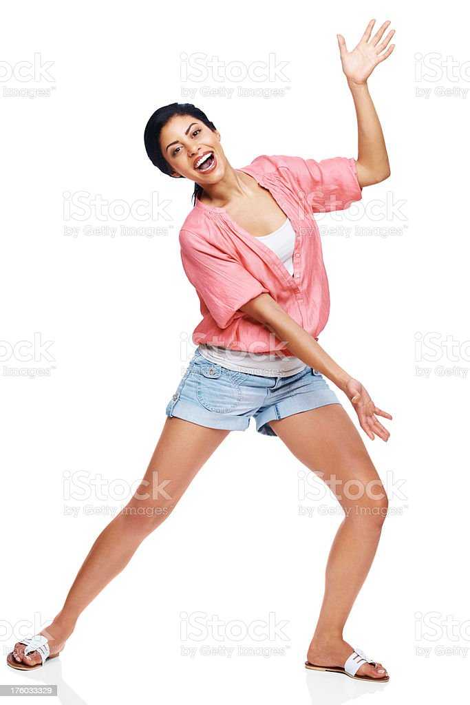Happy young woman presenting young exciting product  stock photo