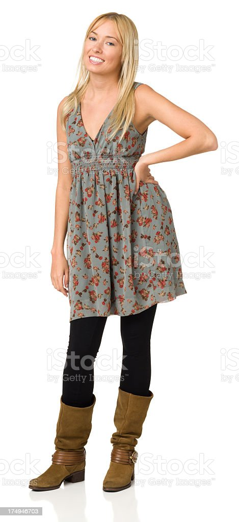 Happy Young Woman Standing Full Length Portrait royalty-free stock photo