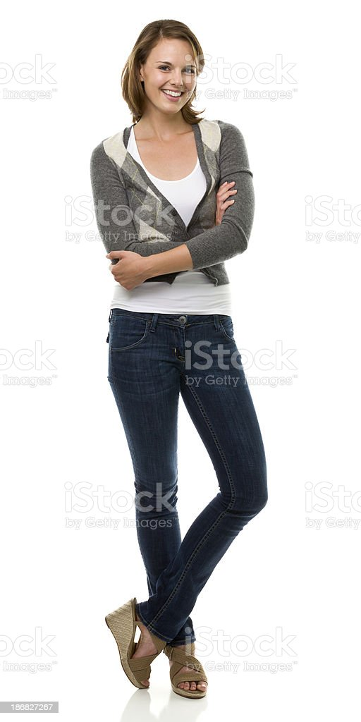 Happy Young Woman Standing Full Length Portrait stock photo