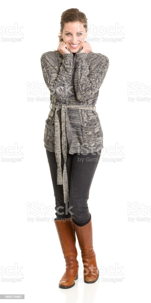 Happy Young Woman Standing royalty-free stock photo