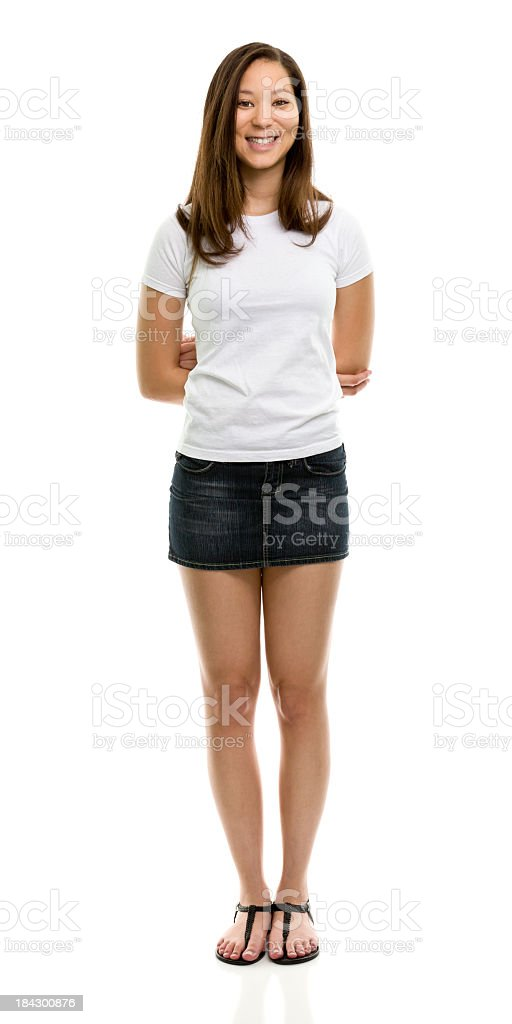 Happy Young Woman Standing Portrait stock photo