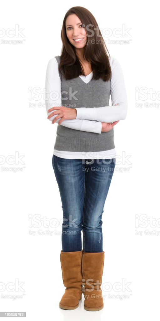 Happy Young Woman Standing Portrait royalty-free stock photo