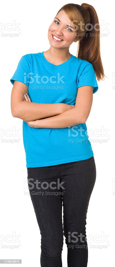 Happy Young Woman Three Quarter Portrait royalty-free stock photo