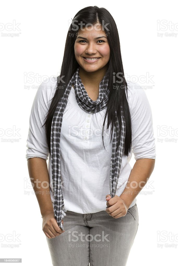 Happy Young Woman Three Quarter Portrait stock photo