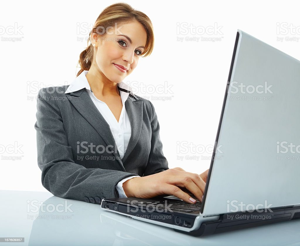 Happy young woman using a laptop on white royalty-free stock photo