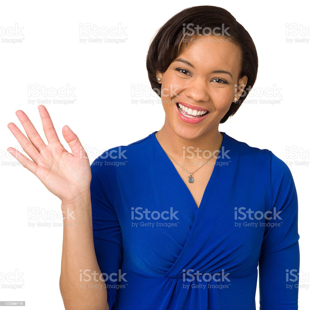 Happy Young Woman Waving Hand stock photo