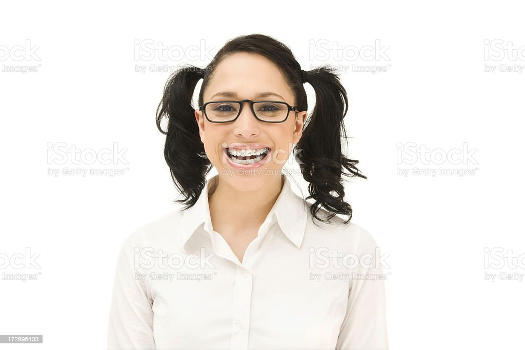 Happy Young Woman with Braces royalty-free stock photo