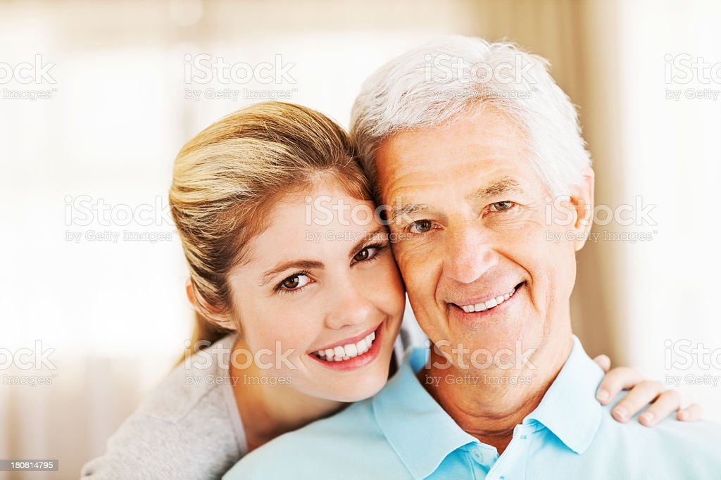 Happy Young Woman With Grandfather royalty-free stock photo