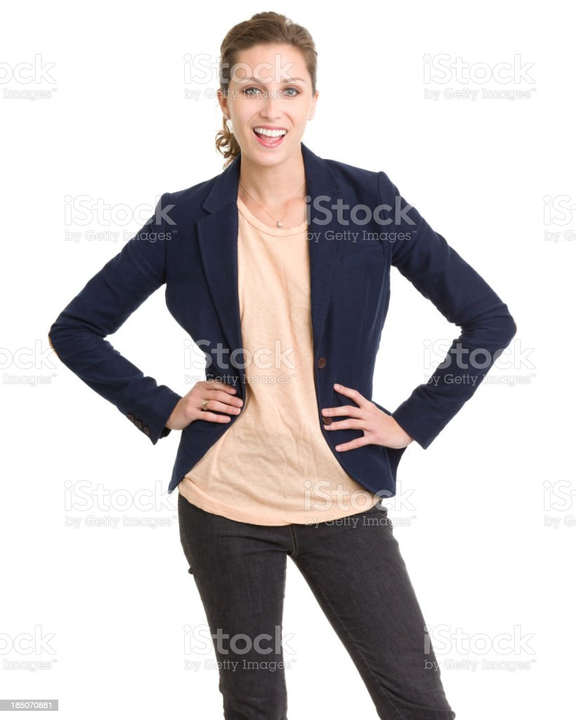 Happy Young Woman With Hands On Hips royalty-free stock photo