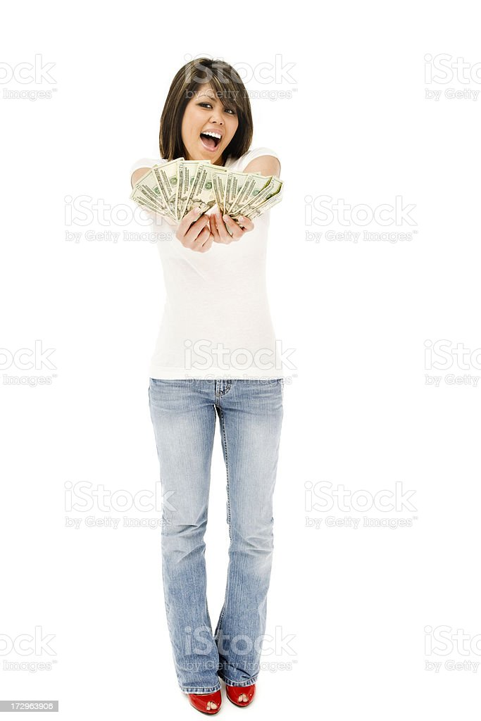 Happy Young Woman with Money royalty-free stock photo