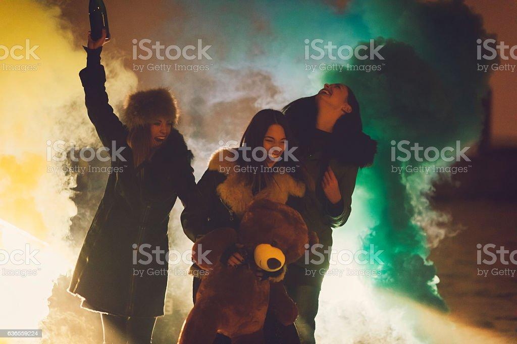 Happy Young Women Having Fun Outdoors. stock photo