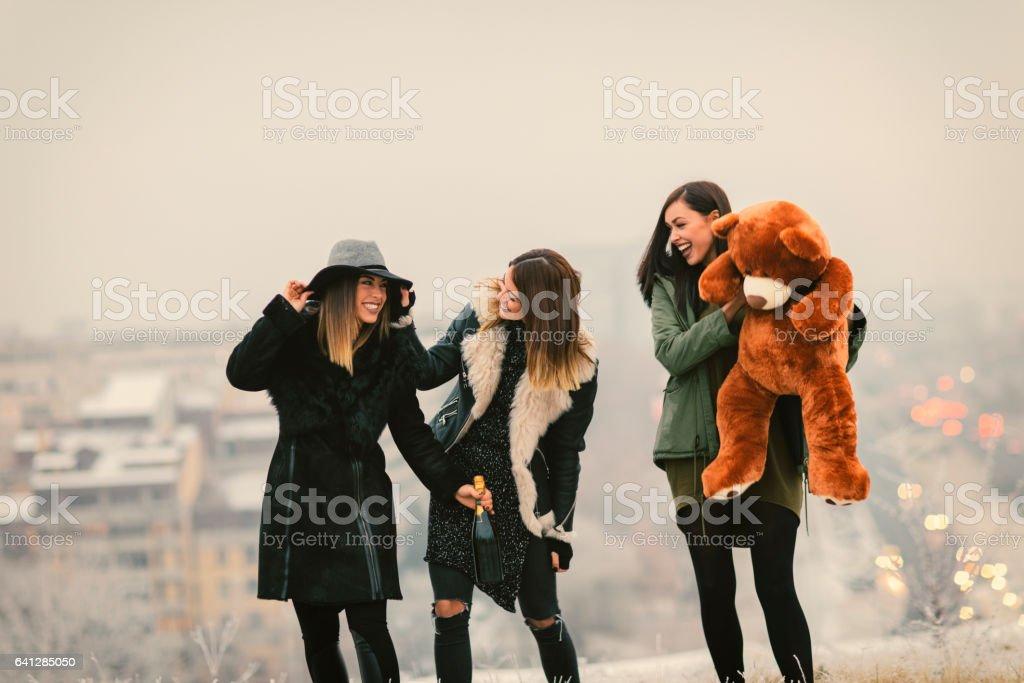 Happy Young Women Having Fun Outdoors stock photo