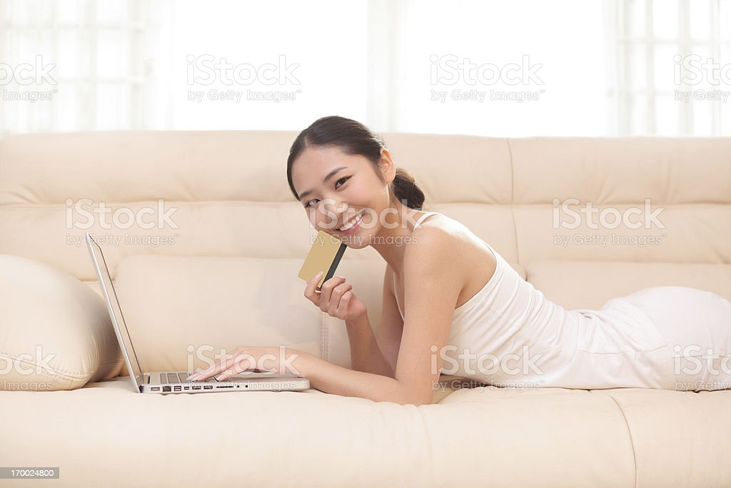 happy young women shopping online royalty-free stock photo