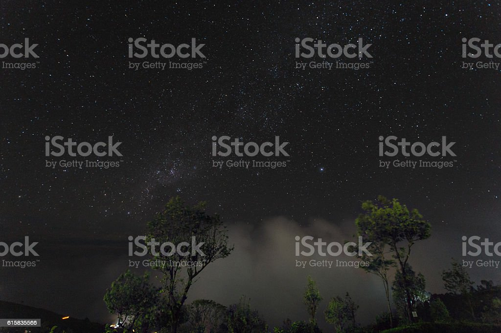 Haputale night valley view, Sri Lanka stock photo