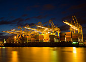 Harbor activity at night