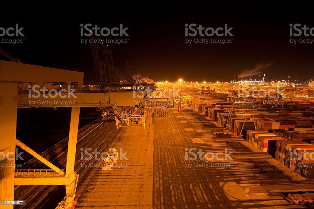 Harbor activity at night royalty-free stock photo