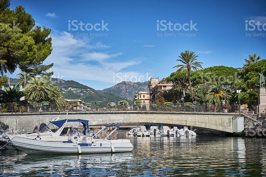 Harbor and city of Santa Margherita Ligure in Italy stock photo