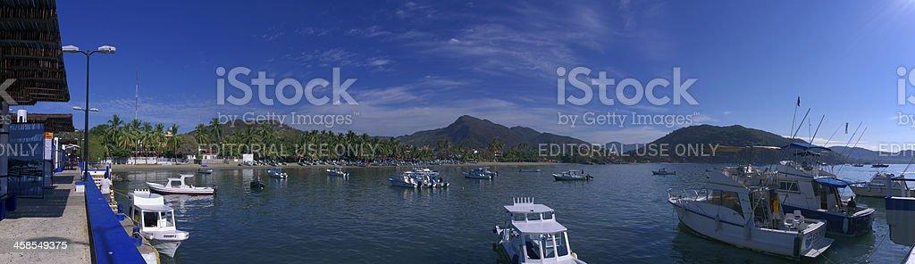 Harbor and Fishing Boats, Zihuatanejo, Mexico stock photo