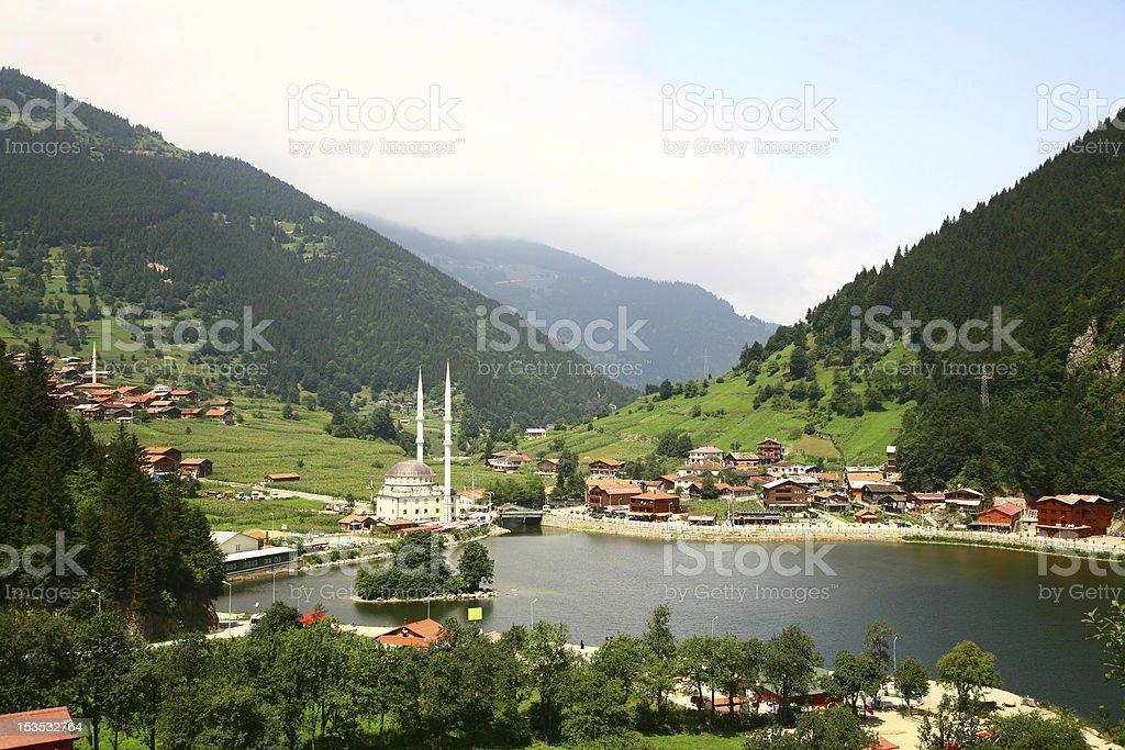 Harbor and green hills of Uzungol, Trabzon stock photo
