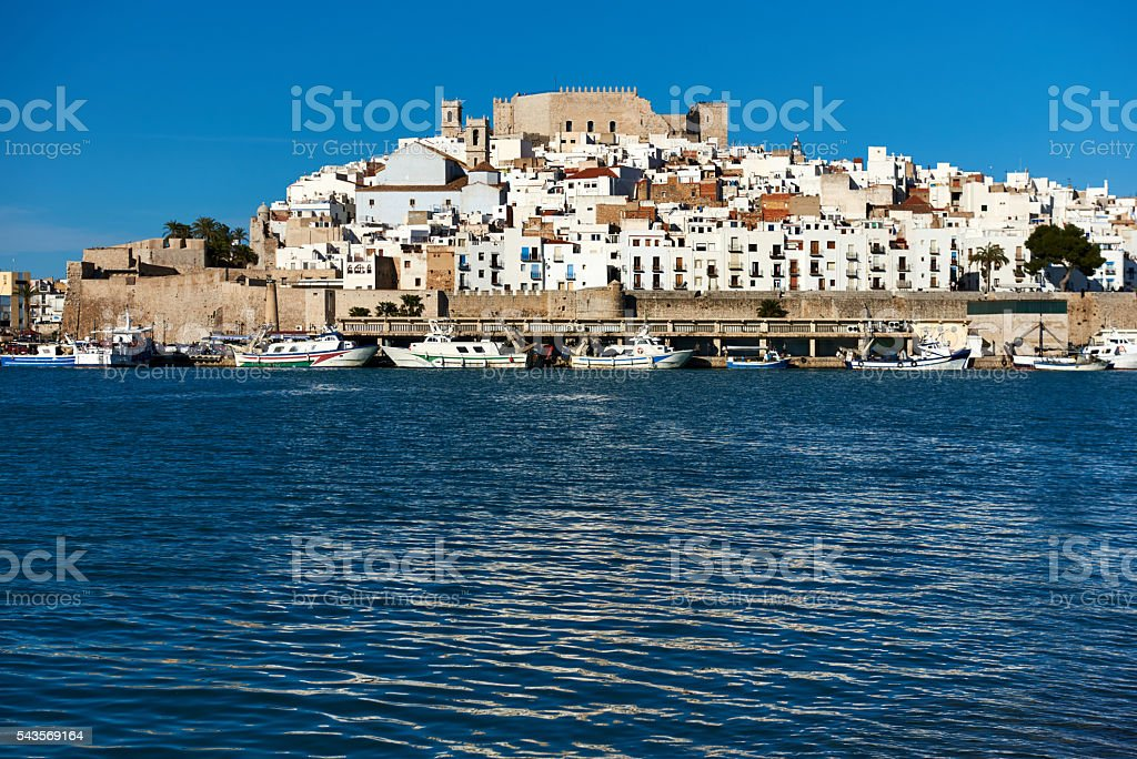 Harbor and old town of Peniscola. Spain stock photo