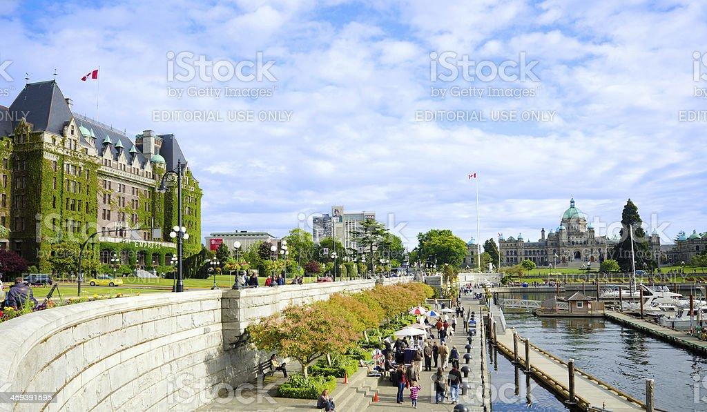 Harbor and The Empress Hotel in Victoria, British Columbia stock photo