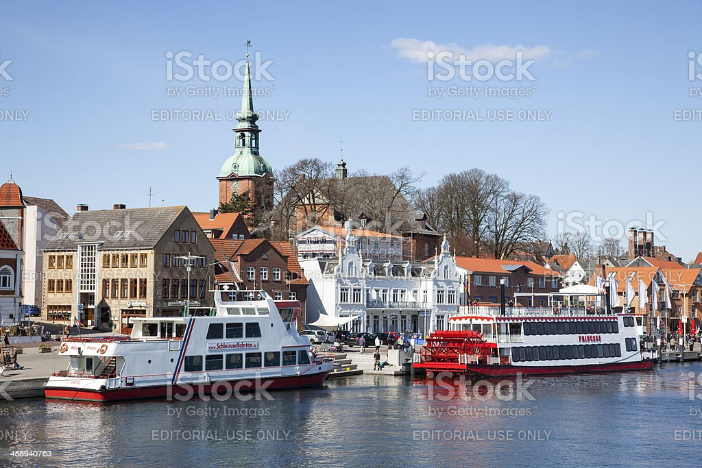 harbor and waterfront of Kappeln, Germany stock photo